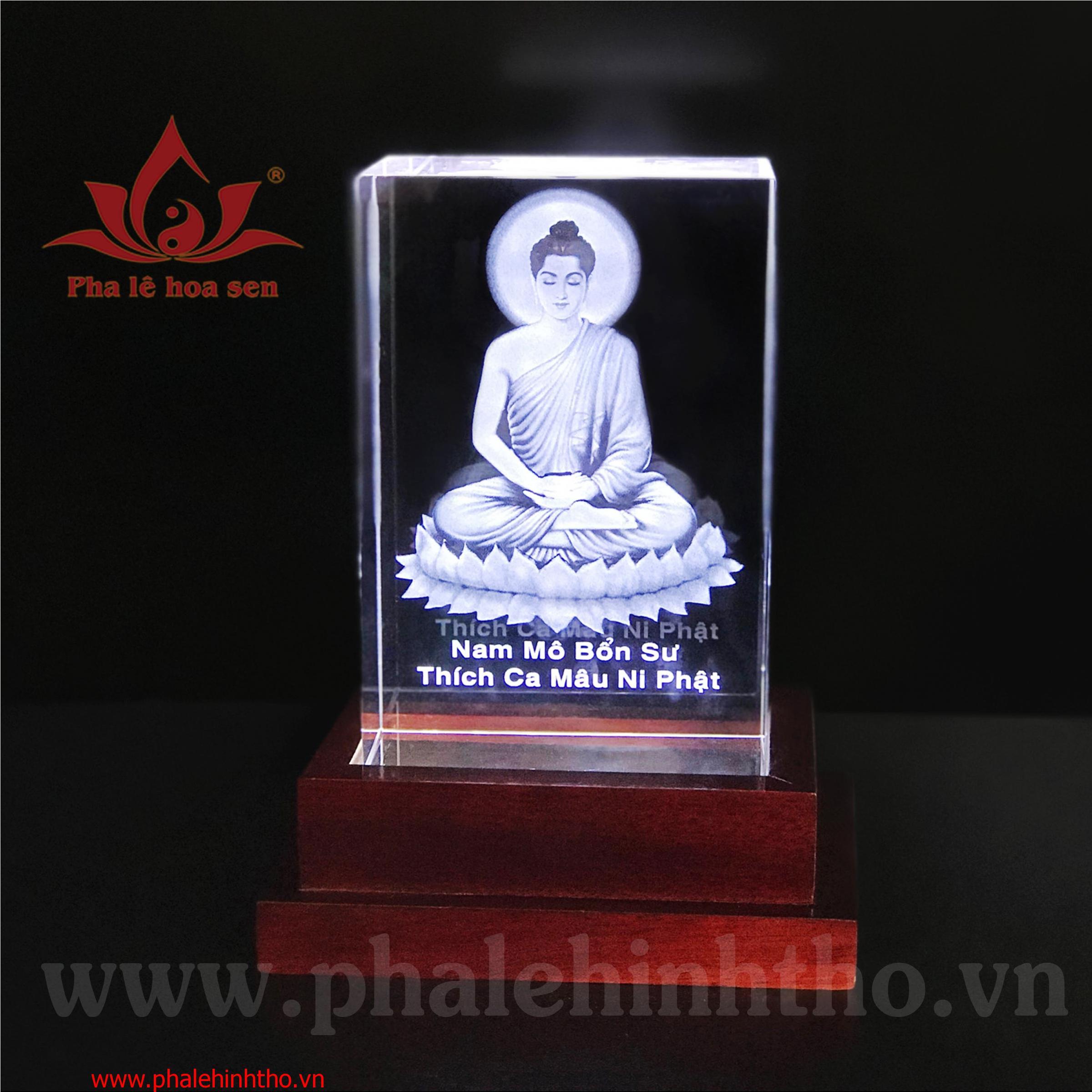 Phật thích ca laser khắc 3D kt: 10x15x6cm
